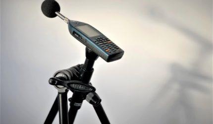 sound meter taking noise level measurements for a BS8233 noise survey