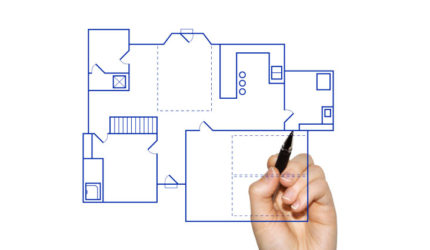 Hand drawing room layout with pen