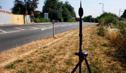 Environmental noise survey equipment set up to undertake a BS8233 noise survey