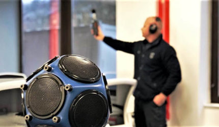 A photograph of our sound test engineer undertaking sound insulation testing in London